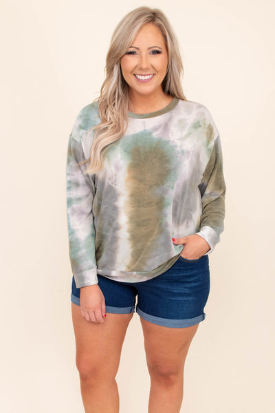 shirt, top, long sleeve, tie dye, olive, green, white, loose, comfy