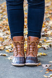 boots, ankle height, lace up, leather, duck boot, brown, black