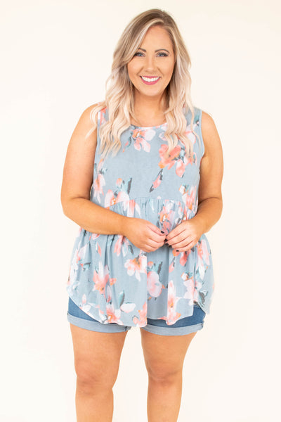 tunic, tank, babydoll, curved hem, long, flowy, blue, floral, pink, white, gray, comfy, spring, summer