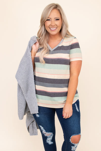 stripes, short sleeve, v-neck, colorful, tee, comfy