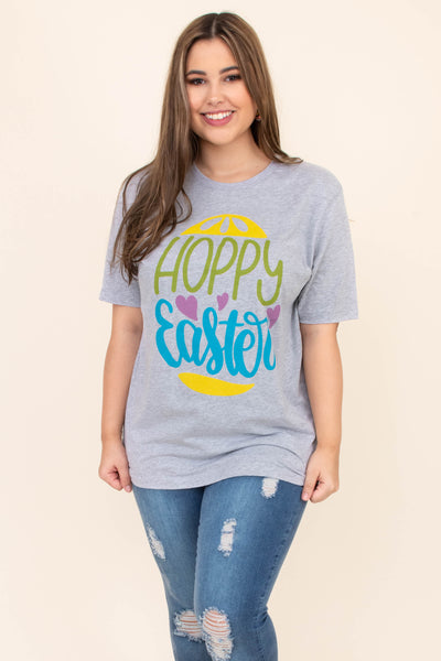 tshirt, short sleeve, long, loose, gray, graphic, easter egg, hoppy easter, hearts, yellow, green, purple, blue, comfy, spring
