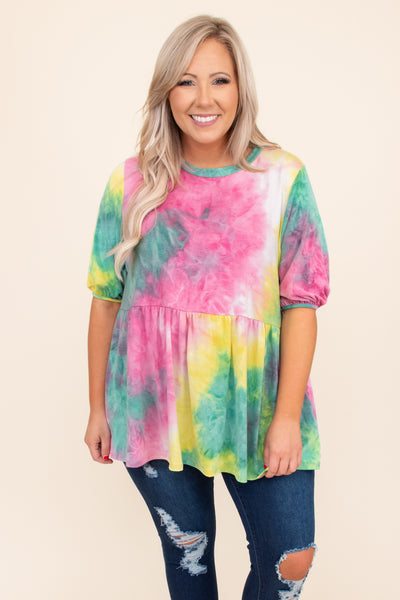top, casual top, pink, tie dye, three quarter sleeve, green, yellow, multi
