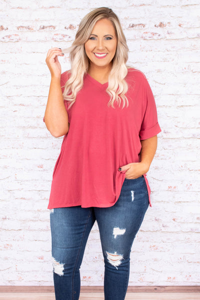 shirt, short sleeve, vneck, side slits, flowy, pink, solid, comfy, cuffed sleeve