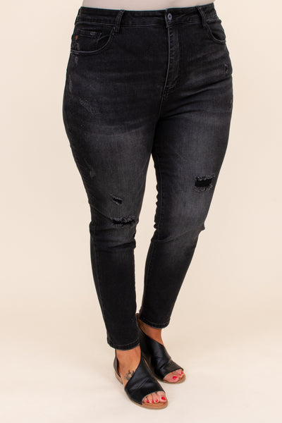figure flattering, distressing, jeans, black, solid, long, fitted, bottoms