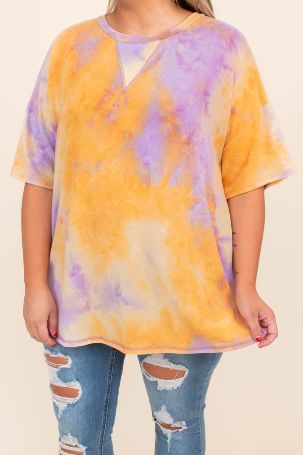 shirt, top, short sleeve, tie dye, purple, orange, loose, comfy