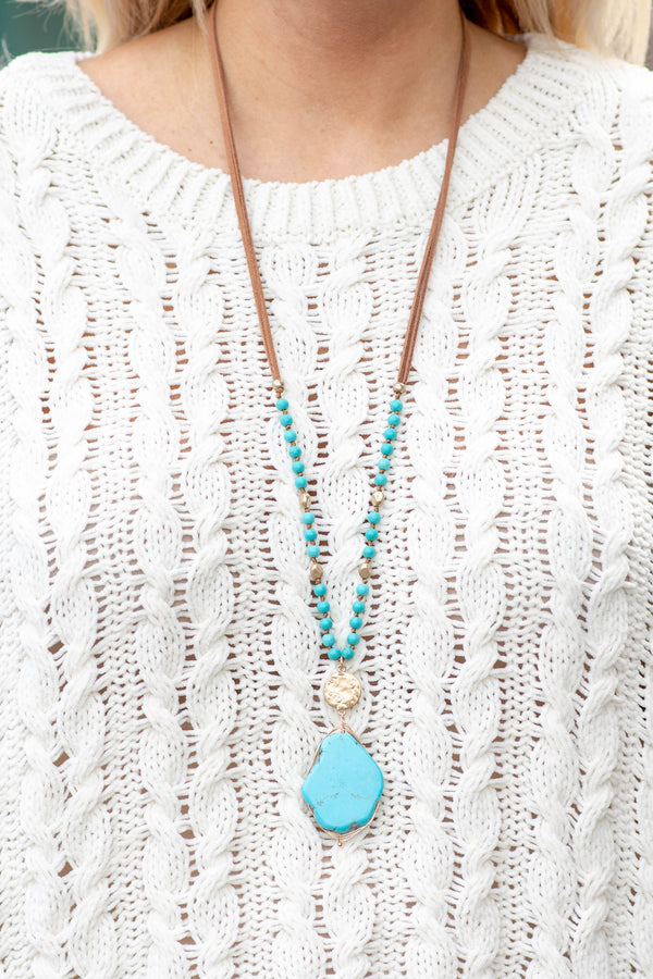Been So Many Places Necklace, Turquoise