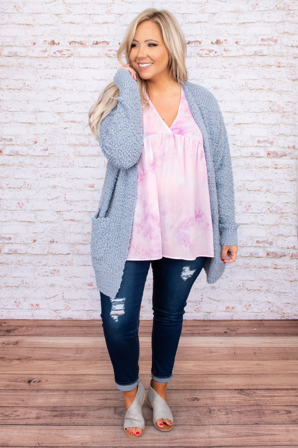 cardigan, open front, soft, loose, pockets, long sleeve, ash blue, blue, comfy, loose