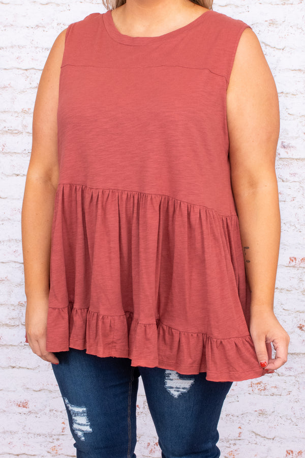 tiered, ruffles, sleeveless, round neck, dark coral, top, tank, flowy, solid, neutral