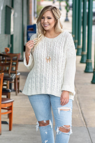 Close Connection Sweater, Cream