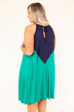 Handling Business Dress, Navy-Kelly Green