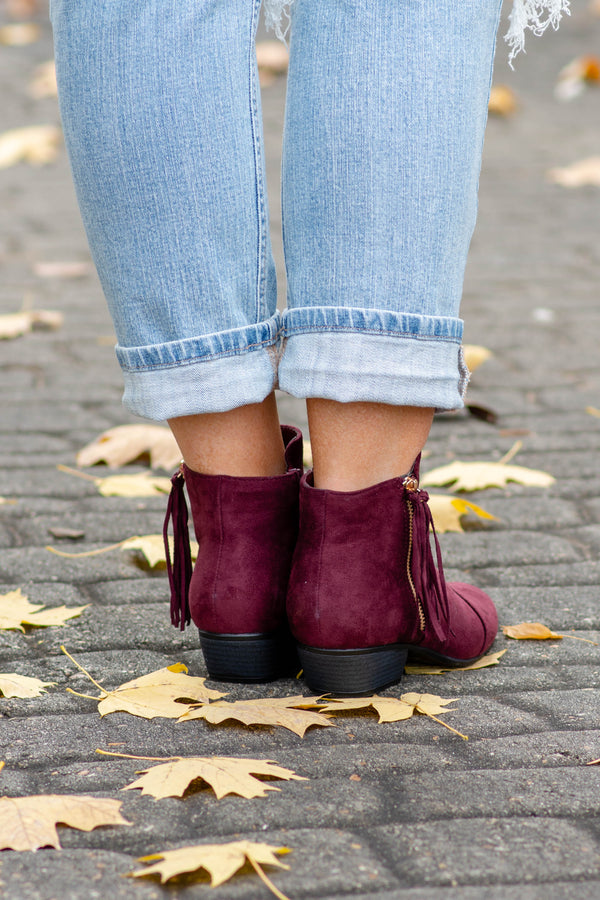 shoes, boots, booties, zip up, ankle height, heeled, burgundy, tassel detail