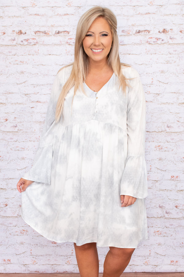 buttons, flowy, neutral, silver, blue, above the knee, dress, flare sleeves, figure flattering, v neck