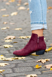 What If I Fall Booties, Burgundy