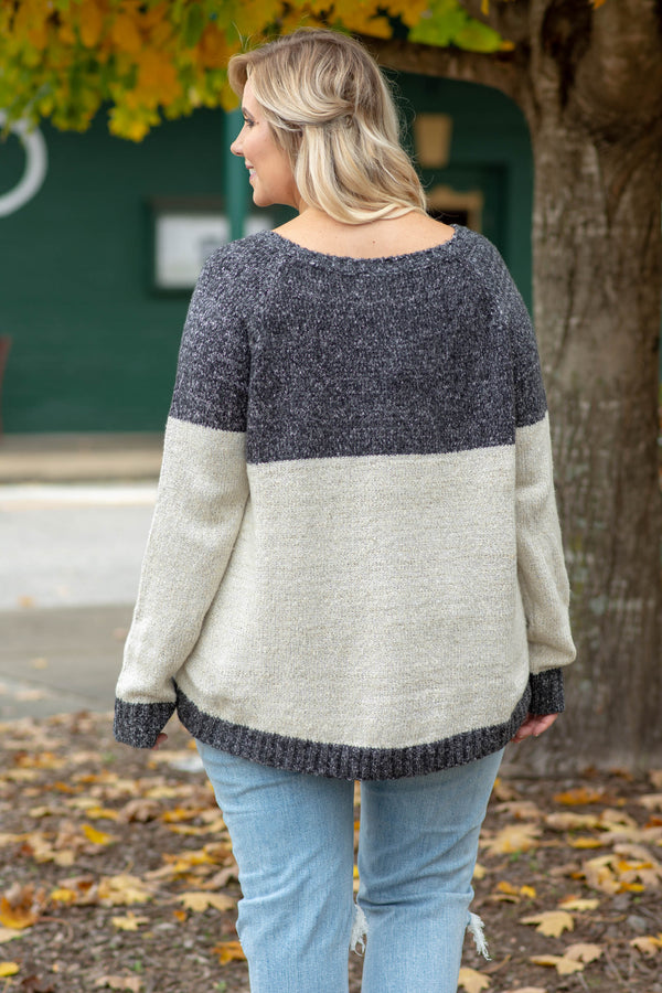 sweater, long sleeve, charcoal, white, colorblock, fuzzy, comfy, fall, winter