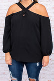cold shoulder, long sleeve, neutral, blouse, black, neck detail, figure flattering, trendy
