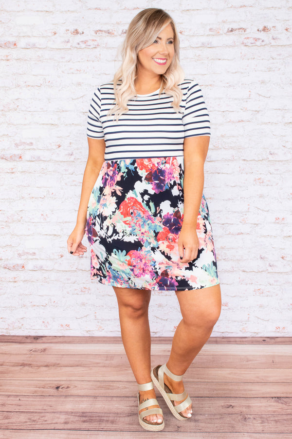 Seize The Moment Dress, Ivory-Navy
