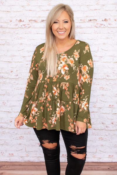 top, floral, olive, tiered, baby doll, figure flattering, long sleeve, print, flowy