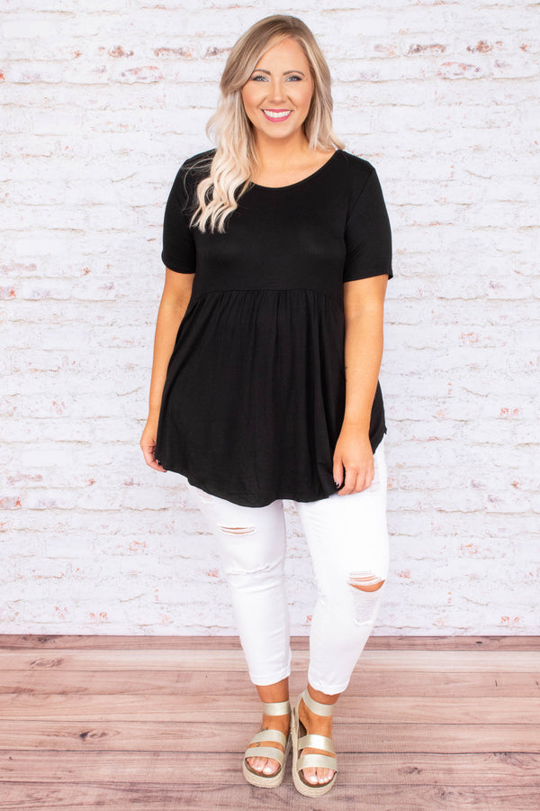 top, short sleeve, black, baby doll fit, flowy