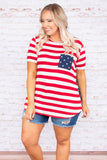 shirt, short sleeve, stripes, star pocket, star back, red, white, blue, americana, curved hem, loose, comfy