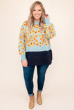 top, sweater, blue, yellow, orange, navy, floral, long sleeve, warm, winter, casual