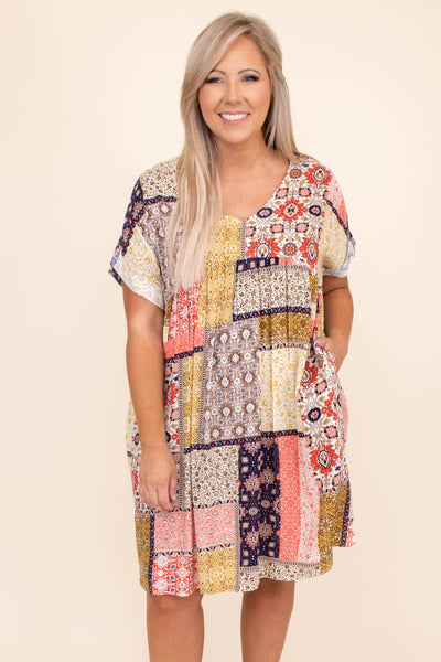 dress, short dress, mixed prints, v neck, short sleeve, knee length, coral multi, purple, yellow, loose, comfy