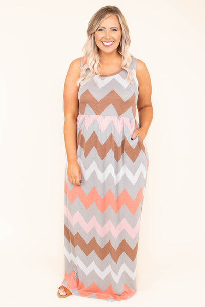 Happy Without You Maxi Dress, Grey-Coral