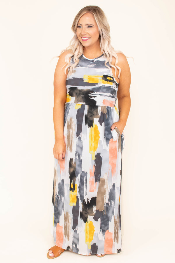 dress, maxi, sleeveless, pockets, loose, racer back, white, black gray, yellow, pink, tie dye, comfy