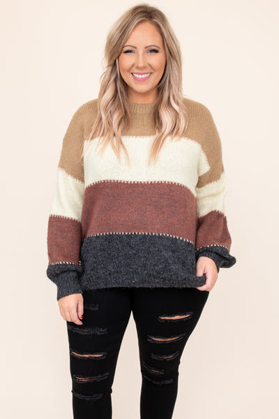 top, sweater, brown, beige, red, blue, striped, long sleeve, warm, winter