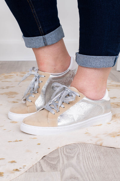 sneakers, lace up, star, silver, shiny, tan, white sole