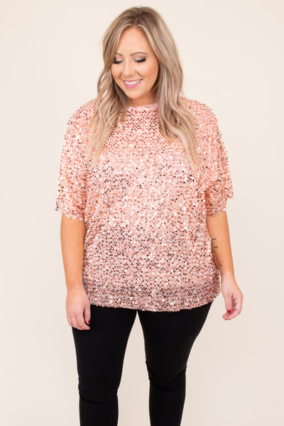 top, shirt, blouse, pink, sequin, half sleeve, peach, holiday party, new years