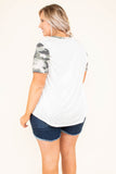shirt, short sleeve, white, solid, camo sleeves, camo pocket, camo neckline, comfy