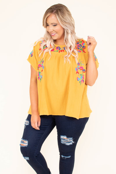 shirt, short sleeve, short, flowy, yellow, embroidery, red, green, blue, comfy