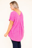 top, casual top, pink, short sleeve, bright, flowy
