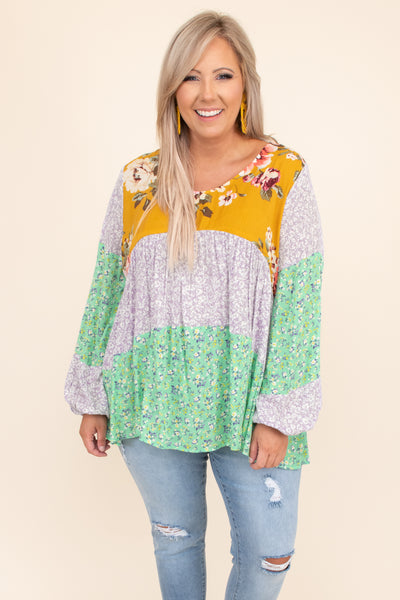 top, colorblock, patterns, floral, print, long sleeve, mint, round neck, yellow, balloon sleeves, tiered, figure flattering