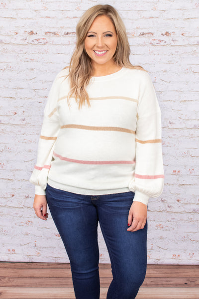 top, sweater, white, ivory, striped, bubble sleeve, warm, winter, flattering