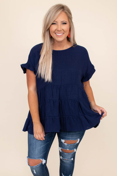 shirt, top, short sleeve, baby doll, loose, comfy, navy, blue