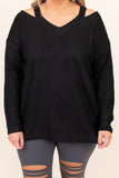 top, casual top, black, long sleeve, vneck, winter, warm