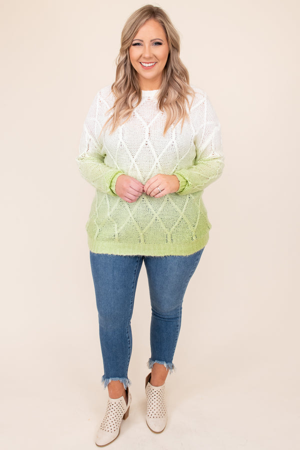 top, sweater, green, white, faded, Ombre, long sleeve, winter