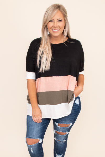 top, tunic, black, pink, taupe, colorblock, half sleeve,