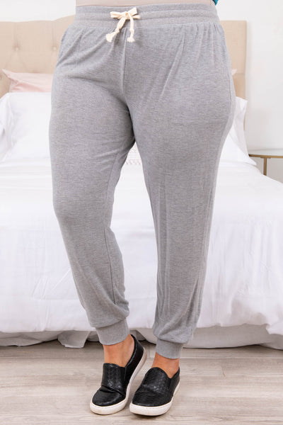 bottoms, lounge pants, gray, solid, comfy, long, home