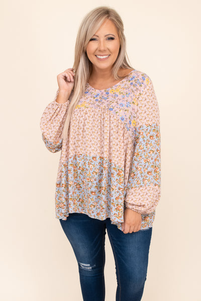 flowy, balloon sleeves, top, pattern, round neck, pink, figure flattering, pink, floral