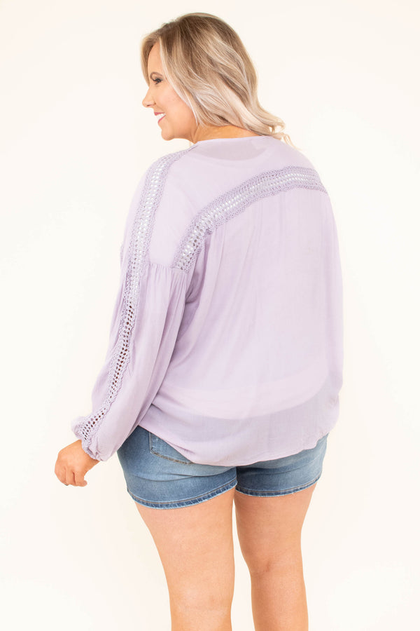 top, light, kimono, long-sleeve, front tie, lavender