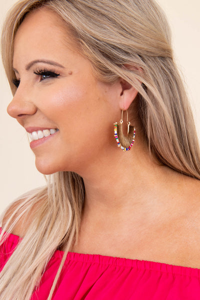 earrings, dangly, gold, colorful