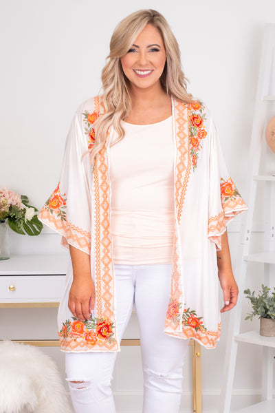 kimono, three quarter sleeve, long, flowy, white, embroidered, orange, green, comfy, outerwear, spring, summer