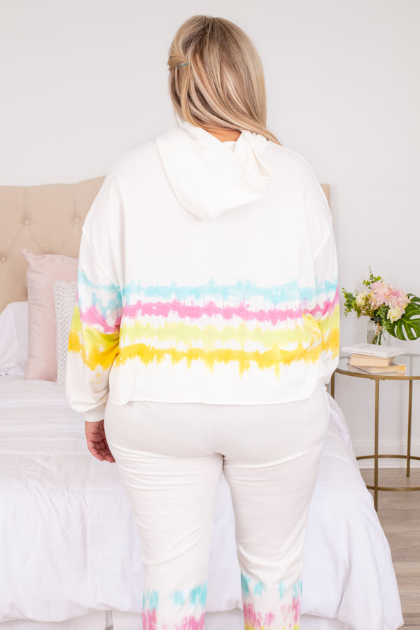 top, sweatshirt, hoodie, loose, comfy, lounge wear, lounge top, tie dye, ivory, blue, pink, yellow, orange, drawstring hood
