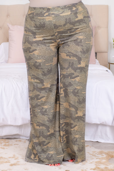 bottoms, pants, long, loose, camo, lounge wear, lounge pants, vintage camo, green