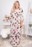 dress, maxi, three quarter sleeve, babydoll, white, floral, pockets, pink, blue, black, loose, comfy