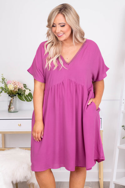 dress, short, short sleeve, vneck, pockets, babydoll, flowy, pink, comfy