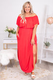 dress, maxi, short sleeve, off the shoulder, ruffle top, flowy, side slits, curved hem, comfy, coral