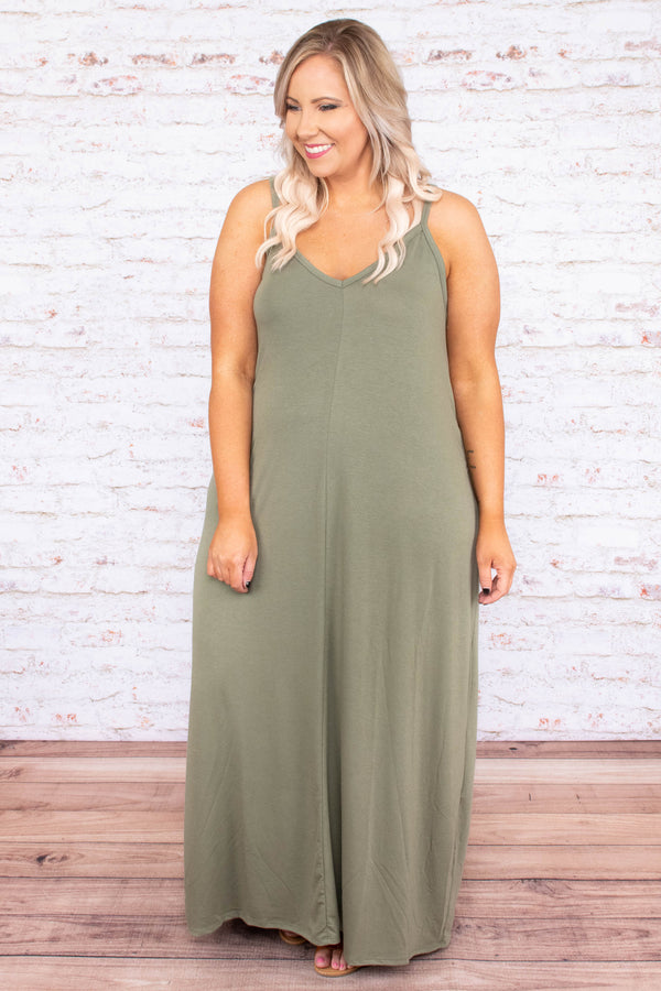 dress, maxi, sleeveless, spaghetti strips, vneck, pockets, flowy, green